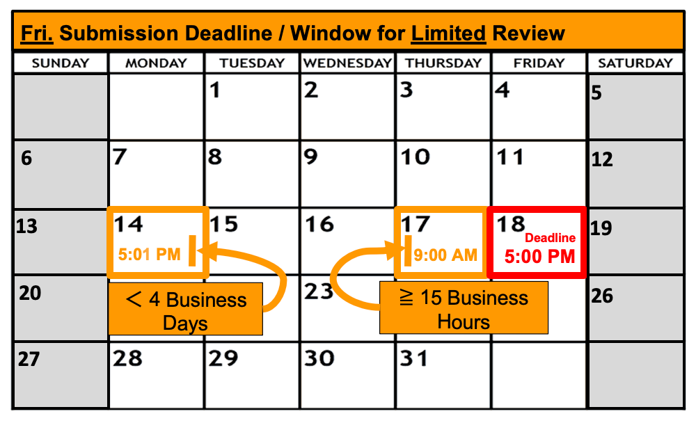 Deadline Calendar - Friday - Limited Review
