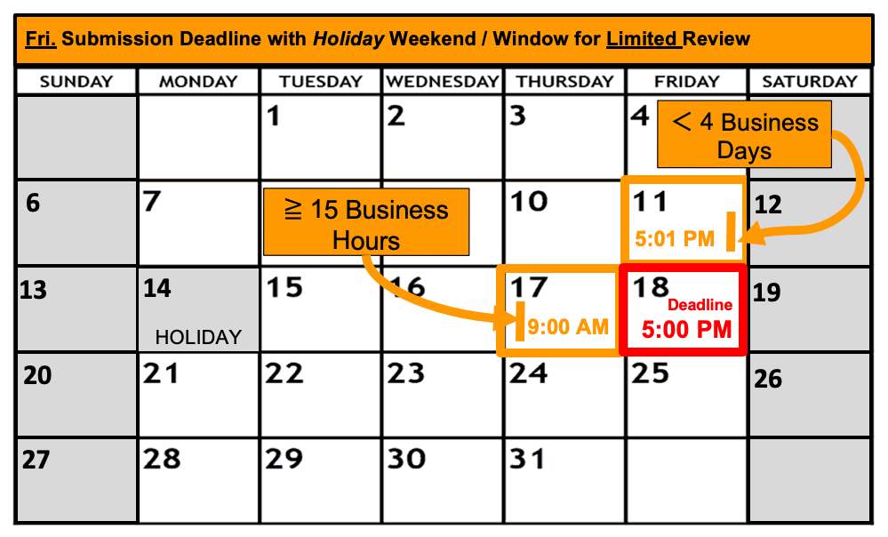 Deadline Calendar - Holiday - Friday - Limited Review