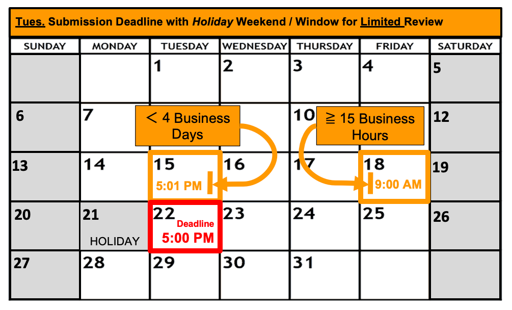 Deadline Calendar - Holiday - Tuesday - Limited Review