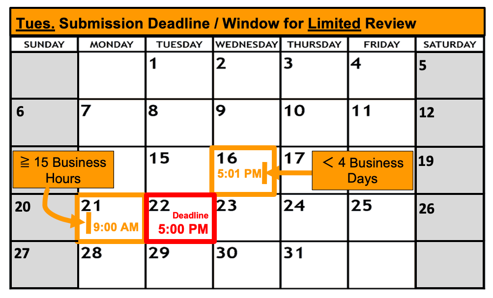 Deadline Calendar - Tuesday - Limited Review