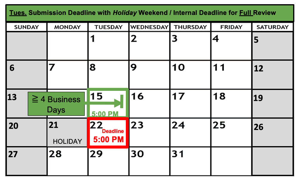 Deadline Calendar - Holiday - Tuesday - Full Review