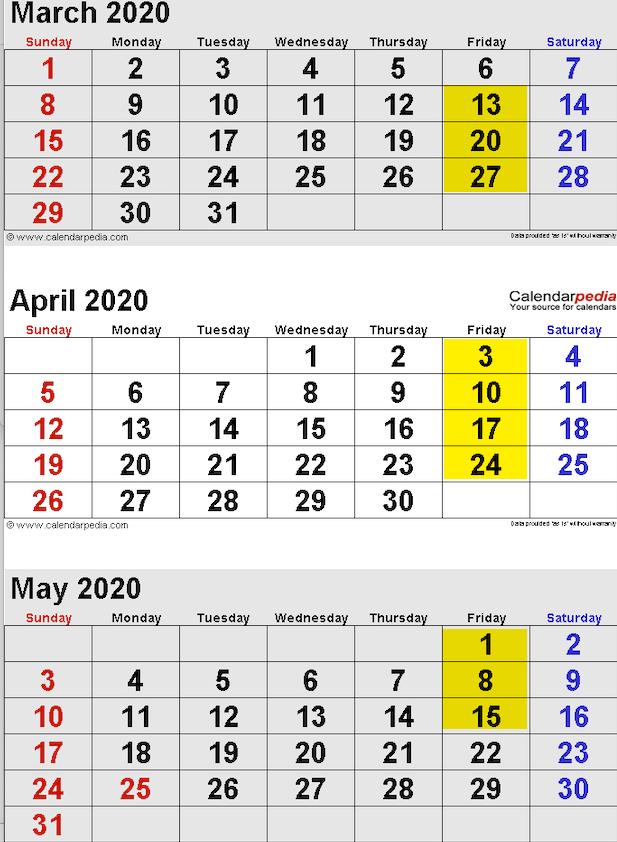 Calendar March-May, 2020