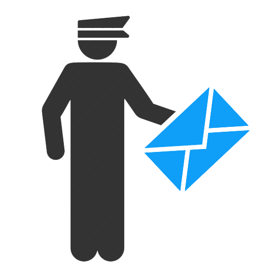 Postman delivering email icon