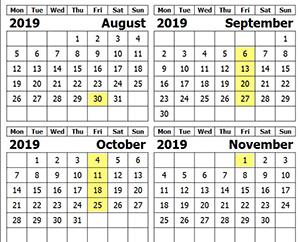 CRA Fall 2019 Calandar