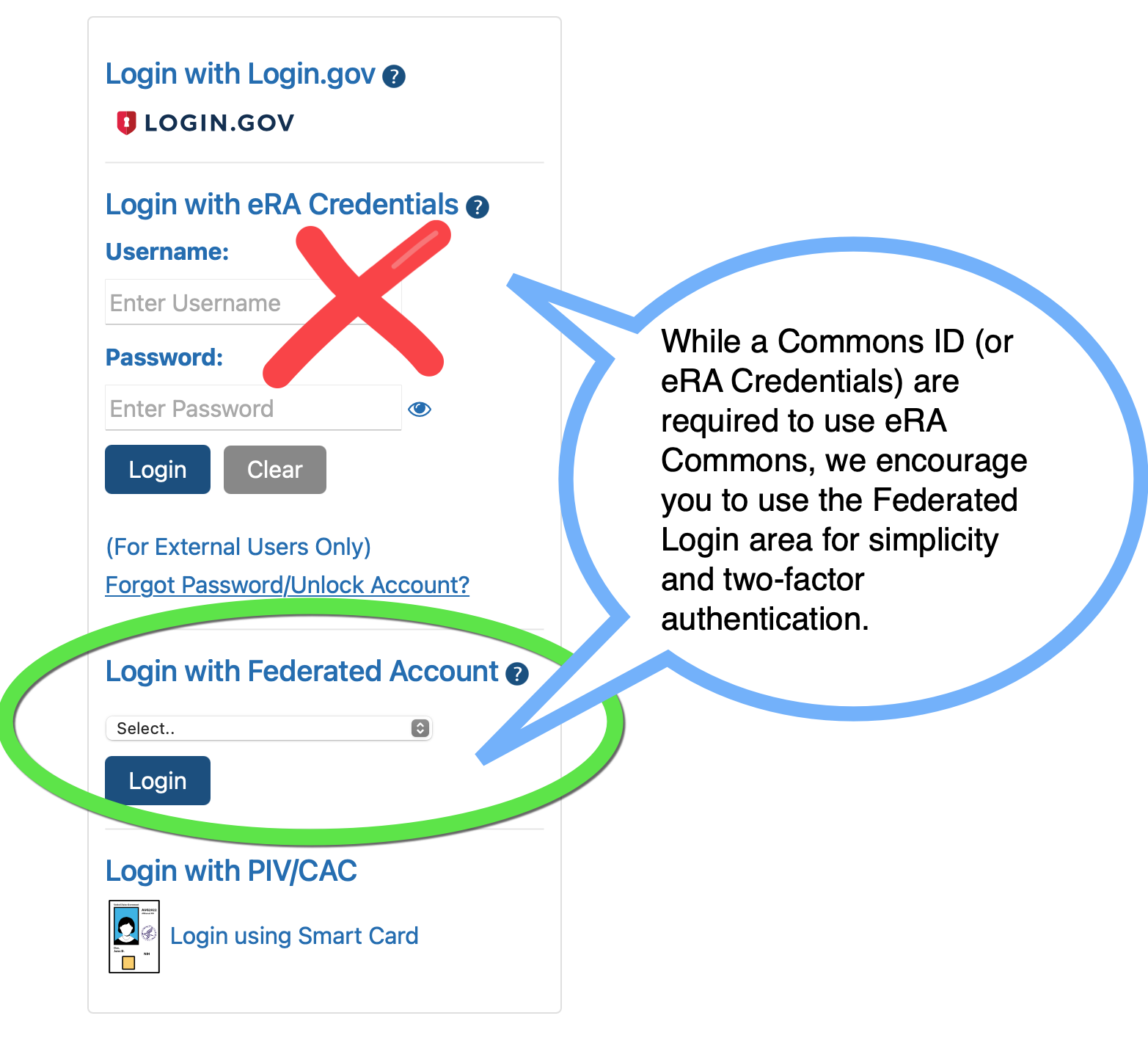 Using your Federated Login is Preferred over Logging in with eRA Credentials