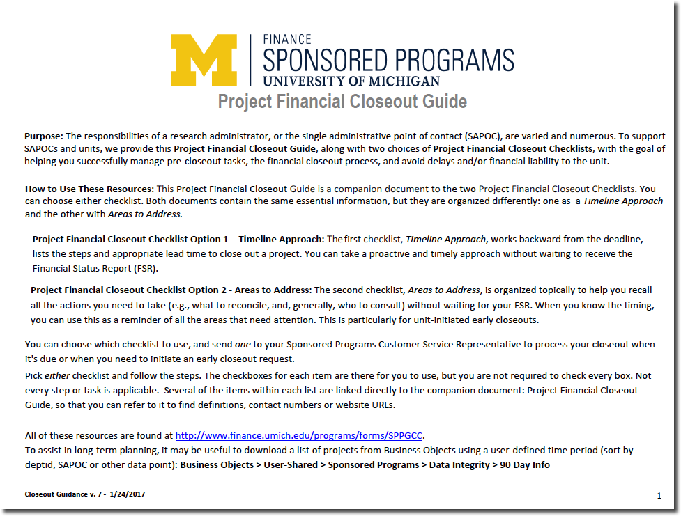 Project Financial Closeout Guide