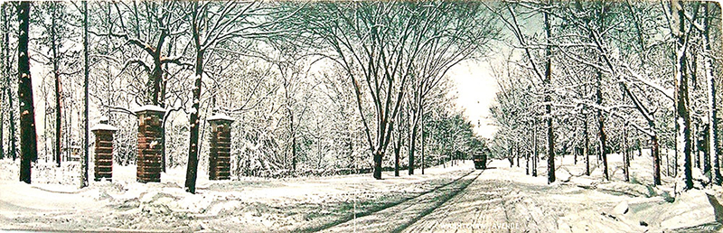 Washtenaw Avenue, northwest from Hill Street, in winter. A 1909 panorama by Ann Arbor photographer A. S. Lyndon.*